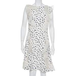 Oscar de la Renta White Painted Effect Lace Ruffle Detail Short Dress M