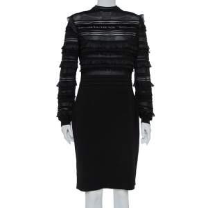 فستان أوسكار دي لارينتا حرير أسود تريكو حواف مكشكشة مقاس كبير جدًا - إكس لارج