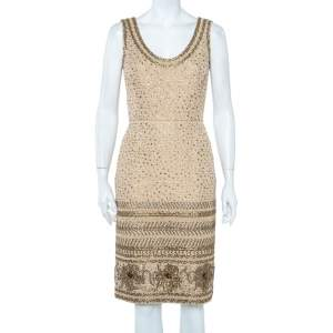 Oscar de la Renta Beige Tweed Sequin Embellished Sleeveless Sheath Dress S