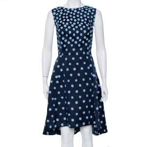 Oscar de la Renta Navy Blue Silk Floral Applique Detail Sleeveless Hi-Low Dress L
