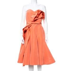 فستان اوسكار دي لا رينتا قصير صدرية مزين منفوش  حرير وردي  سالمون مقاس كبير جداً (اكس لارج)