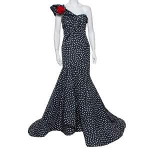 Oscar de la Renta Midnight Blue Printed Silk One Shoulder Asymmetric Hem Detail Evening Gown M