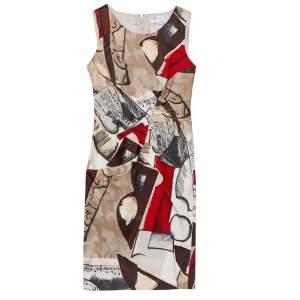 Oscar de la Renta Brown Musical Printed Cotton Sleeveless Sheath Dress S