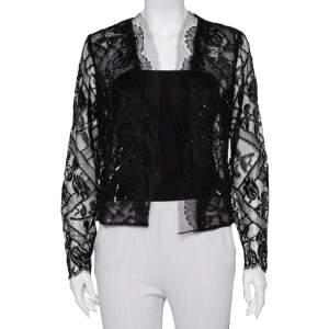 Oscar de la Renta Black Lace & Tulle Sequin Embellished Open Front Shrug M