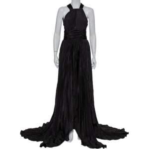 Oscar de la Renta Black Silk Plissé Asymmetrical Hem Detail Flared Gown M