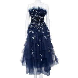 Oscar de la Renta Navy Blue Tulle Sequin Embellished Tiered Midi Dress M