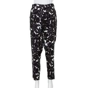 Oscar de la Renta Monochrome Floral Printed Silk Tapered Leg Pants M