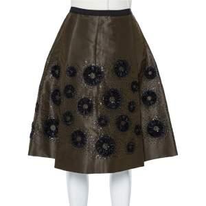 Oscar de la Renta Olive Green Silk Sequin Embellished Pleated Skirt S