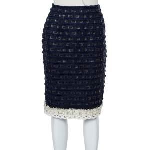 Oscar de la Renta Navy Blue Synthetic & Faux Leather Trim Pencil Skirt M