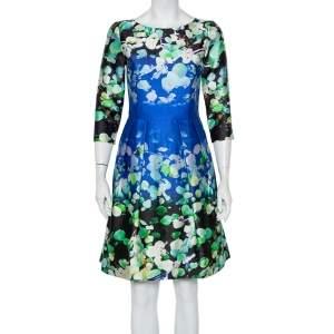 فستان أوسكار دي لارينتا حرير مطبوع مورد متعدد الألوان وقطن مقاس صغير - سمول