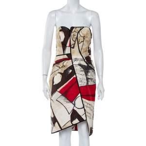 Oscar de la Renta Multicolor Printed Silk Strapless Mini Dress L