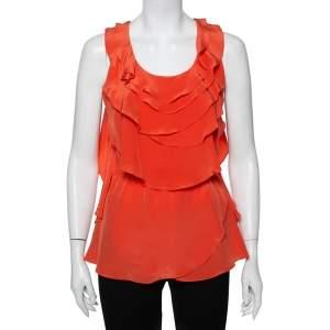 Oscar de la Renta Orange Ruffled Silk Sleeveless Top S
