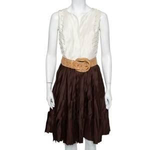 Oscar de la Renta Cream & Brown Silk Pleated Belted Mini Dress S