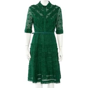 Oscar de la Renta Green Eyelet Lace Belted Midi Dress L