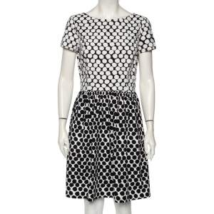 Oscar de la Renta Polka Dotted Cotton Poplin Dress M