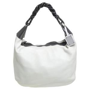 Oscar de la Renta Off White Leather Zipped Hobo