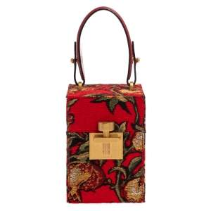 Oscar de la Renta Multicolor  Floral Print Fabric and Leather Alibi Box Bag