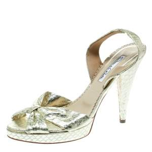 Oscar de la Renta Metallic Gold Embossed Python Leather Knot Sandals Size 38