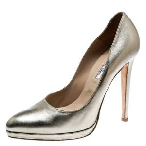 Oscar De La Renta Metallic Gold Leather Pointed Toe Pumps Size 40