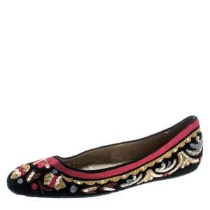 Oscar de la Renta Multicolor Suede And Lace Sequin Embellished Ballet Flats Size 36