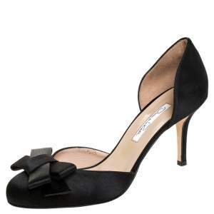 Oscar de la Renta Black Satin Bow Heel Pumps Size 38.5