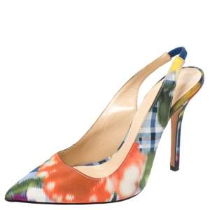 Oscar de la Renta Multicolor Abstract Print Satin Pointed Toe Sandals Size 36