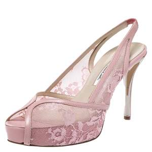 Oscar De La Renta Pink Lace And Leather Slingback Platform Peep Toe Sandals Size 37