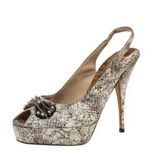 Oscar de la Renta White/Black Snake Print Leather Slingback Platform Peep Toe Sandals Size 37