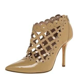Oscar de la Renta Beige Patent Leather Laser Cut Fernanda Ankle Booties Size 37.5