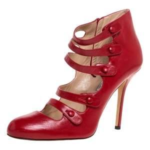 Oscar de la Renta Red Leather Strappy Ankle Booties Size 41