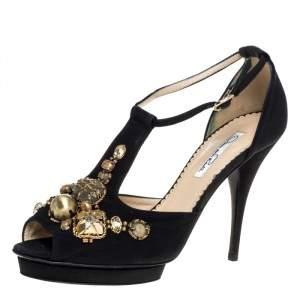 Oscar de la Renta Black Fabric Embellished Platform Ankle Strap Sandals 39.5