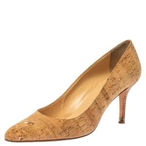 Oscar De La Renta Beige Cork Pointed Toe Pumps Size 40