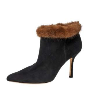 Osca De La Renta Black Suede Leather And Mink Fur Pointed Toe Ankle Boots Size 38.5