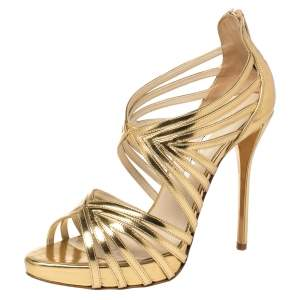 Oscar De La Renta Metallic Gold Leather Bree Cage Sandals Size 38.5