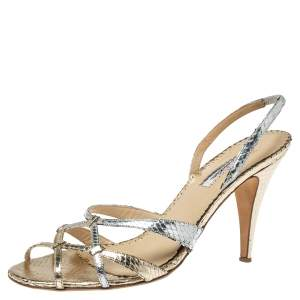 Oscar De La Renta Silver/Gold Python Embossed Leather Strappy Slingback Sandals Size 40