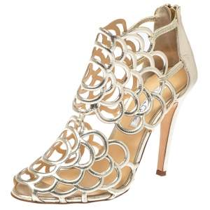 Oscar de la Renta Golden Leather Gladia Cage Peep Toe Sandals Size 38