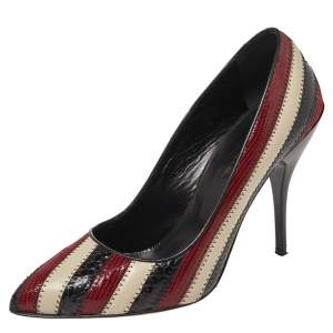 Oscar De La Renta Multicolor Python Embossed Leather Fallon Stripe Pumps Size 39