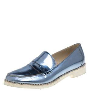 Oscar de la Renta Metallic Blue Leather Tenzin Penny Slip On Loafers Size 39