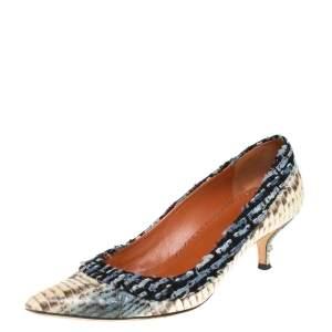 حذاء كعب عالي أوسكار دي لارينتا جلد ثعبان متعدد الألوان وقماش مقدمة مدببة مقاس 39.5