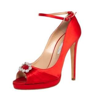 Oscar de la Renta Red Satin Crystal Embellished Peep Toe Ankle Strap Pumps Size 40