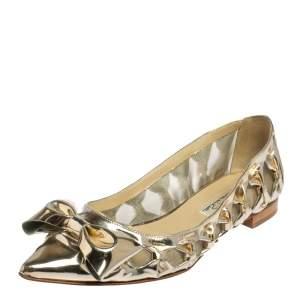 Oscar de la Renta Metallic Gold Patent Leather Bow Ballet Flats Size 39.5