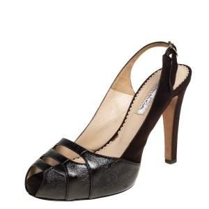 Oscar de la Renta Brown Suede And Leather Slingback Sandals Size 39