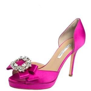 Oscar de la Renta Pink Satin Crystal Embellished Bow D'Orsay Pumps Size 37.5