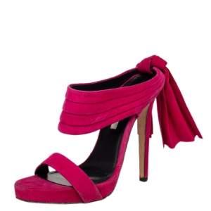 Oscar de la Renta Pink Suede Sandy Bow Detail Sandals Size 38.5
