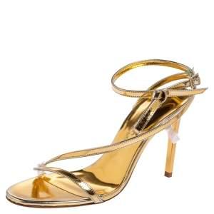 Oscar de la Renta Gold Leather Knotted Ankle Strap Open Toe Sandals Size 36