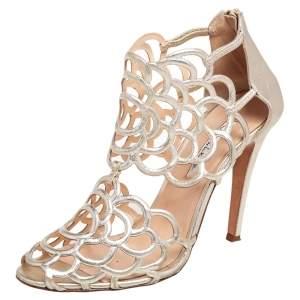 Oscar de la Renta Gold Leather Gladia Cutout Sandals Size 40