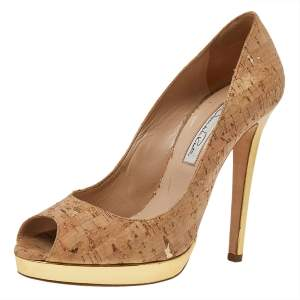 Oscar de la Renta Beige Leather Peep Toe  Pumps Size 38.5