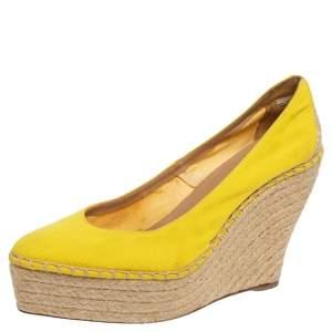 Oscar de la Renta Yellow Canvas Espadrille Wedge Pumps Size 39