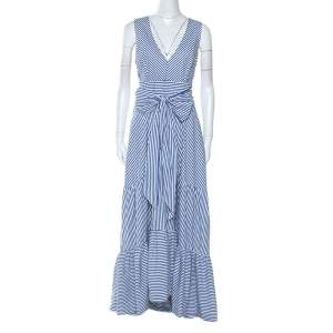P.A.R.O.S.H Blue Striped Cotton Bow Sleeveless Ruffle Hem Dress L