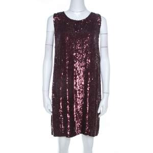 P.A.R.O.S.H. Burgundy Chiffon Sequins Sleeveless Shift Dress L